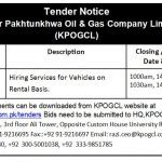 Tender for Hiring of Services for Vehicles on Rental Basis
