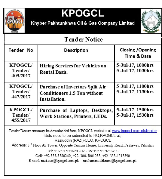 Tenders for Hiring Services for Vehicles on Rental Basis, Invertors