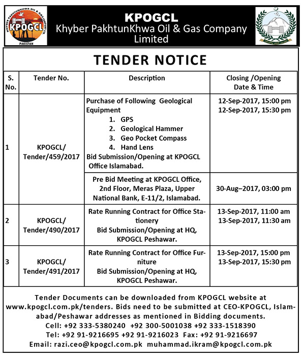Tender for Purchase of Geological Equipment, Rate Running